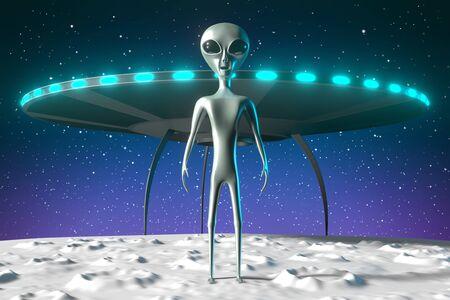 Aliens, extraterrestrials, spaceship - 3D rendering 写真素材