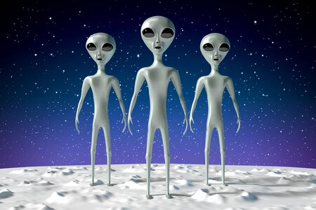 Aliens extraterrestrials - 3D rendering 写真素材