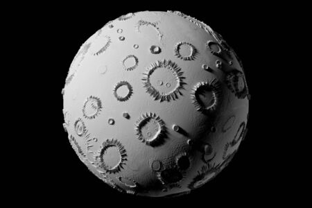 Abstract planet with craters - 3D rendering