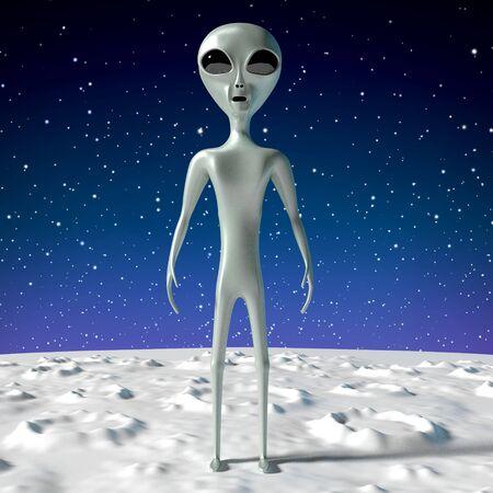 Alien extraterrestrial - 3D rendering 写真素材
