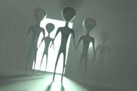 Aliens extraterrestrials, door with light - 3D rendering 写真素材