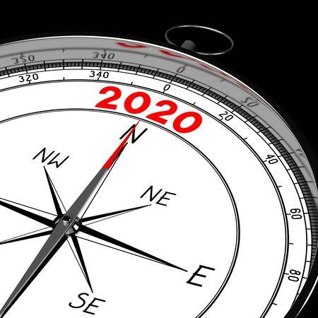 Concetto 2020 - bussola - rendering 3D Archivio Fotografico