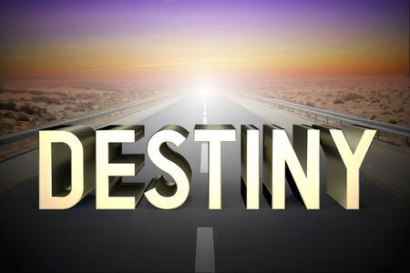 Destiny concept, road - 3D rendering