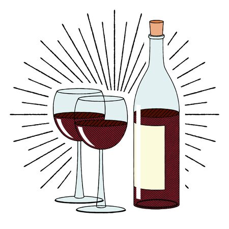 Bottle of wine and two glasses - illustration clipart  イラスト・ベクター素材