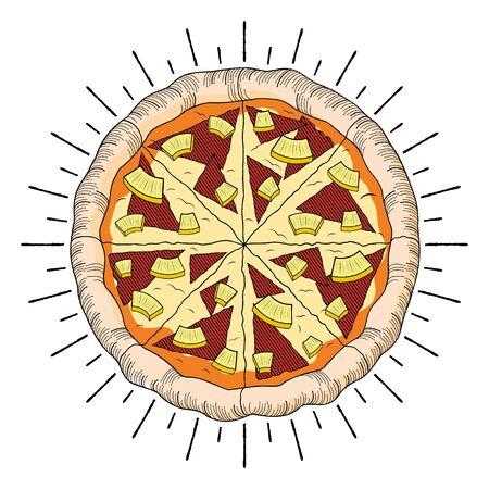 Hawaiian pizza (pineapple, ham) - illustration/ clipart 写真素材 - 136456889