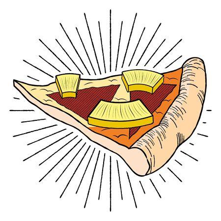 Hawaiian pizza (pineapple, ham) - illustration/ clipart 写真素材 - 136456890