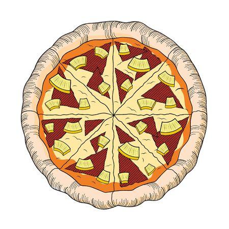 Hawaiian pizza (pineapple, ham) - illustration/ clipart Illustration