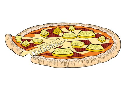 Hawaiian pizza (pineapple, ham) - illustration/ clipart 写真素材 - 136456892