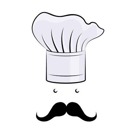 Cook/ Chef hat, moustache - illustration/ clipart Ilustração Vetorial