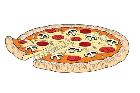 Pizza (ham, mushroom) - illustration/ clipart 写真素材 - 136456895
