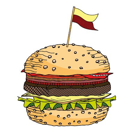 Hamburger/ Cheeseburger with a flag - illustration/ clipart
