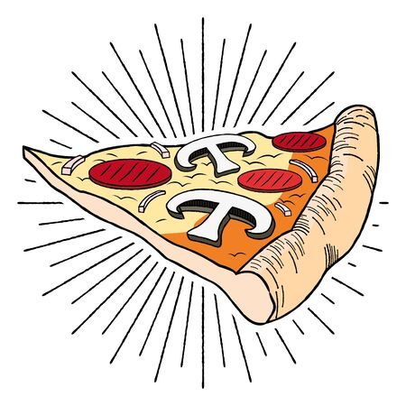 Pizza (ham, mushroom) - illustration clipart