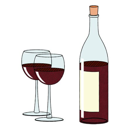 Bottle of wine and two glasses - illustration/ clipart 写真素材 - 136393668