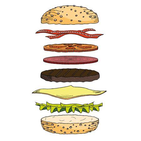 Hamburger/ Cheeseburger - ilustracja/ kliparty