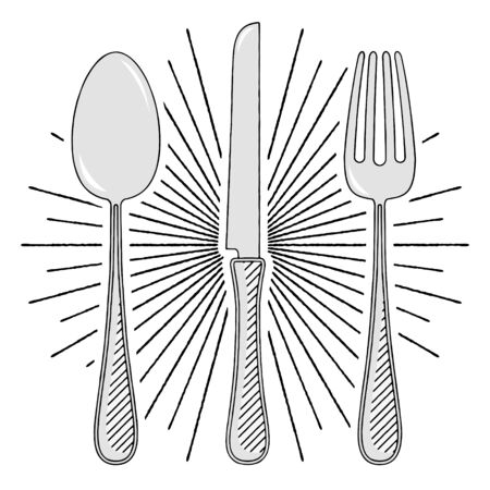Fork, knife, spoon - illustration/ clipart 写真素材 - 136393649