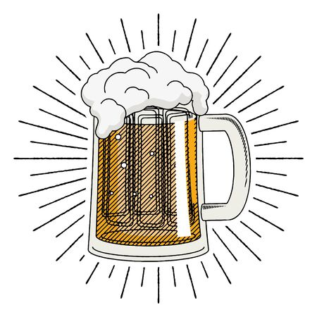 Pint of beer - illustration clipart