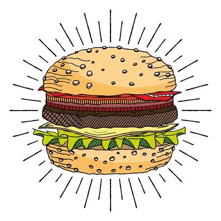Hamburger/ Cheeseburger - illustration/ clipart 写真素材 - 136394306
