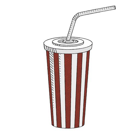 Cola/ soda with a straw - illustration/ clipart 写真素材 - 136393620