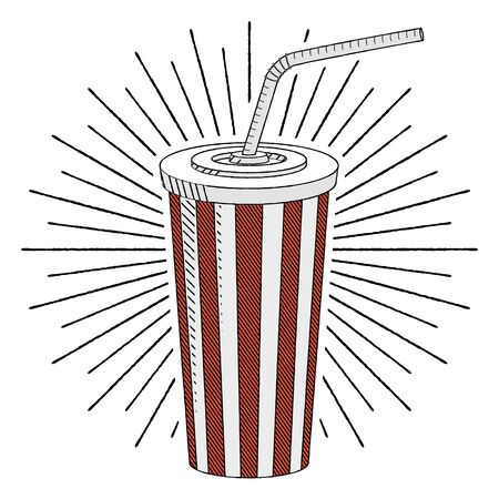 Cola soda with a straw - illustration clipart  イラスト・ベクター素材