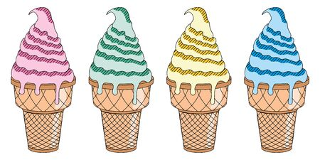 Ice cream - four colors - illustration clipart