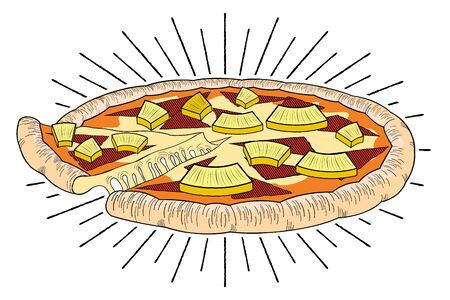Hawaiian pizza (pineapple, ham) - illustration clipart