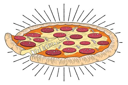 Pizza (pepperoni, onion) - illustration clipart