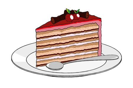 Cake dessert on plate, spoon - illustration clipart Illusztráció