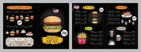 Burger restaurant  bar menu template (burgers, french fries, desserts, drinks, sets) - 2 x A4 (210x297 mm) card
