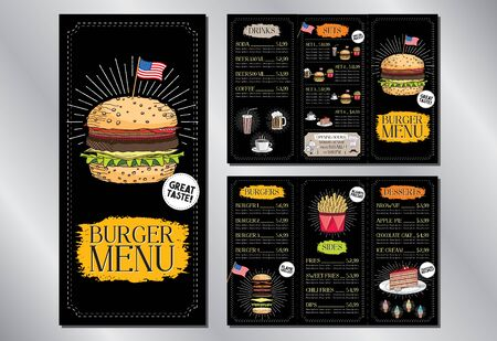 Burger restaurant  bar menu template flyer (burgers, french fries, desserts, drinks, sets) - 3 x DL (99x210 mm)