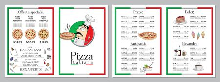 Italian pizza restaurant menu template - pizzas, pastas, desserts, drinks - 2 x A4 (210x297 mm)