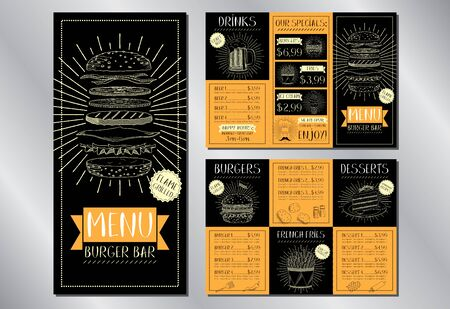 Burger bar menu flyer template (burgers, french fries, desserts, drinks) - 3 x DL (99 x 210 mm) 写真素材 - 136746491