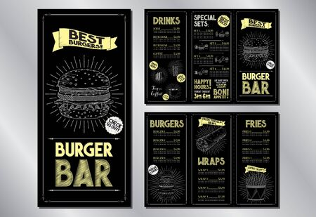 Burger bar menu brochure template (burgers, wraps, french fries, drinks, sets) - 3 x DL (99 x 210 mm)