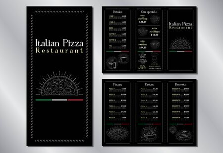 Italian pizza restaurant menu brochure template (pizzas, pastas, desserts, drinks) - 3 x DL (99 x 210 mm)
