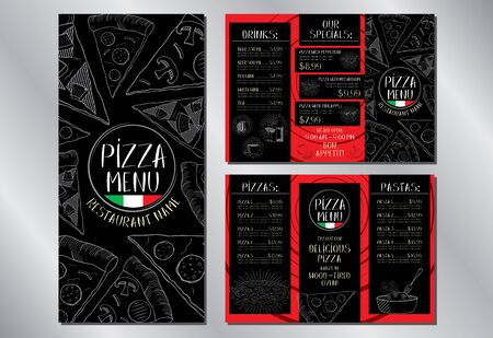Pizza restaurant menu flyer template (pepperoni, mushroom, hawaiian, pasta, drinks) - 3 x DL (99 x 210 mm) Illusztráció