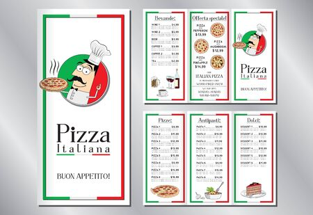 Italian pizza restaurant - menu flyer template - pizzas, pastas, desserts, drinks - 3 x DL (99x210 mm)