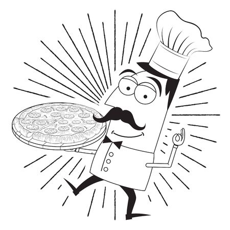 Chef cook holding pizza - vector illustration