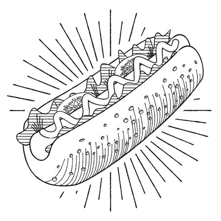 Hot-dog with mustard - vector illustration