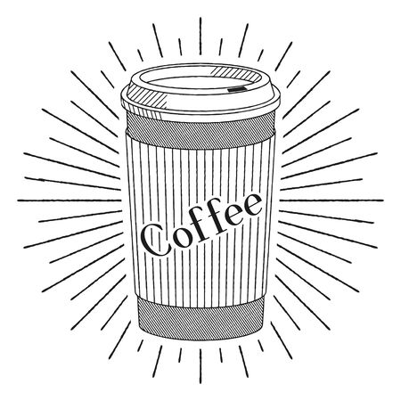 Disposable coffee cup mug - vector illustration Illusztráció