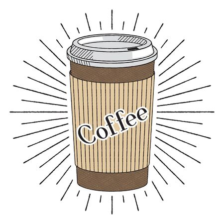 Disposable coffee cup/ mug - vector illustration 写真素材 - 136994149