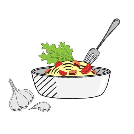 Pasta nuddles - vector illustration