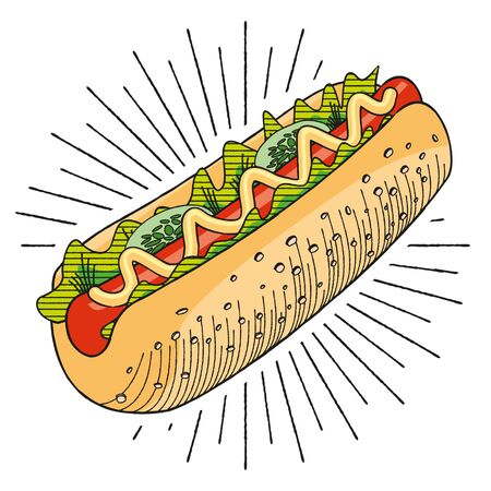 Hot-dog with mustard - vector illustration 写真素材 - 136840418
