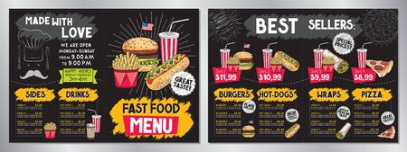 Fast food restaurant menu template (burgers, hot-dogs, tortilla wraps, pizza, fries, drinks, sets) - 2 x A4 (210x297 mm) card