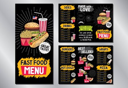 Fast food restaurant menu template (burgers, hot-dogs, tortilla wraps, pizza, fries, drinks, sets) - 3 x DL (99x210 mm) Illusztráció