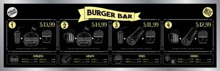 Burger bar menu template - price list banner (sets, burgers, tortilla wraps, french fries, drinks) - 200 x 60 cm