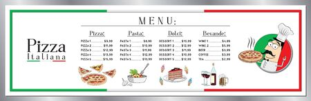 Italian pizza restaurant menu template - price list banner (pizzas, pastas, desserts, drinks) - 200 x 60 cm Illusztráció