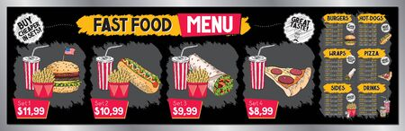 Fast food restaurant menu template - price list banner (sets, burgers, hot-dogs, tortilla wraps, pizza, french fries, drinks) - 200 x 60 cm