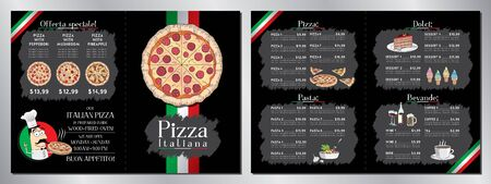 Italian pizza restaurant menu template - pizza, pasta, desserts, drinks - 2 x A4 (210x297 mm)