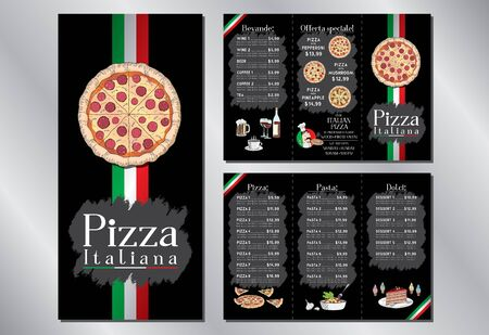 Italian pizza restaurant - menu/ flyer template - pizza, pasta, desserts, drinks - 3 x DL (99x210 mm) 写真素材 - 138105992