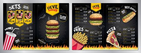 Devil burger - restaurant menu card template - (burgers, french fries, hot-dogs, pizza, drinks, sets) - 2 x A4 (210x297 mm)  イラスト・ベクター素材