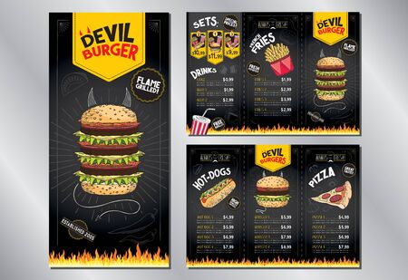 Devil burger - karta menu restauracji/ szablon - (burgery, frytki, hot-dogi, pizza, napoje, zestawy) - 3 x DL (99x210 mm) Ilustracje wektorowe